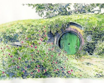 Bilbos front door, bag end, frodo baggins, hobbiton, lord of the rings, the hobbit, print art,wall art,fine art painting,fantasy art,lotr