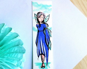 Watercolor blue fairy bookmarks