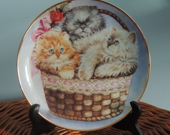 """Vintage Franklin Mint """"Three Little Kittens""""Limited edition collectors plate,Cat Collection, Cats in a Basket,Collectible Plate,Cute Kittens"""