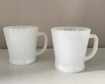 Fire-King Mugs Set White Milkglass mug Made in USA vintage mug