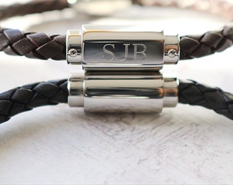 Mens Bracelet - Personalised Mens Leather Bracelet