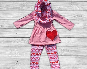 Pink Valentine Hearts Outfit with Infinity Scarf