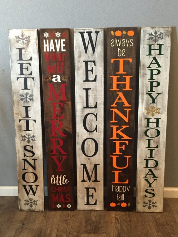 Reversible Winter Sign Welcome Sign Reversible Holiday Sign
