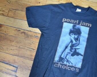 RARE!! Vintage 1992 Pearl Jam 'Choices' Band Rock Unisex Concert T-Shirt