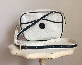 White crossbody bag, 80s, adjustable strap, *vintage*