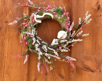 Spring Wreath, Summer Wreath, Burlap Wreath, Home Decor, Front Door Wreath, Wall Hanging, All Season Wreath, Cottage Chic,  Made In Canada