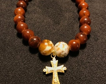 Brown Agate Glass Beads Bracelet with Cross