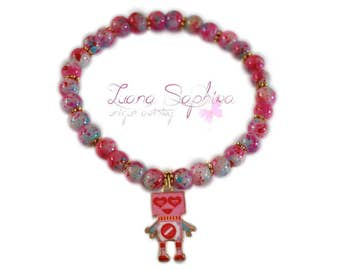 Pink pearl bracelet with robot