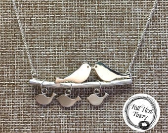 Tweet Family Necklace with 3 baby birds, love birds, bird family necklace