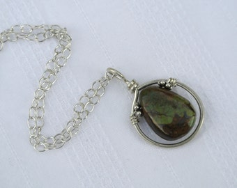 Turquoise Gemstone Pendant Sterling Silver Necklace