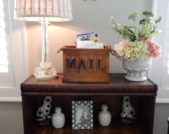 Rustic Red or Yellow Mail Tin, Basket, Organizer, Bin with Magnetic MAIL letters and Jute Handles