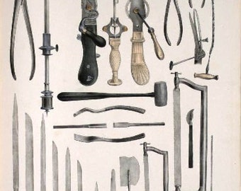 Antique Ars Medica Medical Amputation Instruments Illustration A3 Reprint