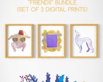 Friends bundle, Friends set of 3, friends turkey, friends frame, friends dog, friends tv icons, friends tv show art, friends tv wallart