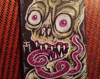 Monster ACEO Original Drawing, Miniature Gothic Surreal Horror creature demon collectible trading card size art by TM