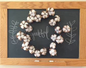 "9"" Cotton Boll Wreath"