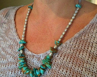 Handmade Freshwater Pearl Necklace with Turquoise Stones
