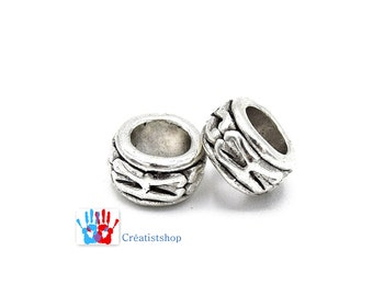 Round silver Tibetan beads large hole bracelet 7mm PIA037 - batch of: 10 / 20 / 30 / 50 units