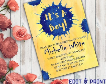 It's A Boy Baby Shower Invitation, Boy Baby Shower Invitation, Baby Shower  For Boy, Blot, Watercolor, Blue And Yellow, Instant Download