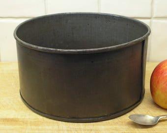 Vintage baking tin, large 8 x 4 inches. Cake bread making pan. Kitchenalia 1950s retro industrial metal steel bakeware cookware utensil