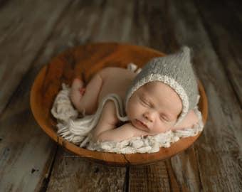 Pixie Bonnet, Newborn Bonnet, Baby Bonnet, Photography Prop, Baby, Bonnet, Newborn Photo Prop, Pixie Hat, Newborn Knit Bonnet, Knit Bonnet