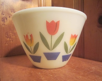 "Vintage Fire King Oven Ware 8 1/2"" White Milk Glass Tulip Bowl 3qt"