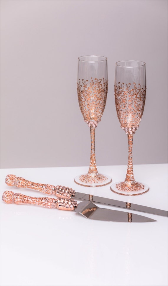 Rose gold wedding glasses and cake server set cake knife rose - Unusual champagne flutes ...