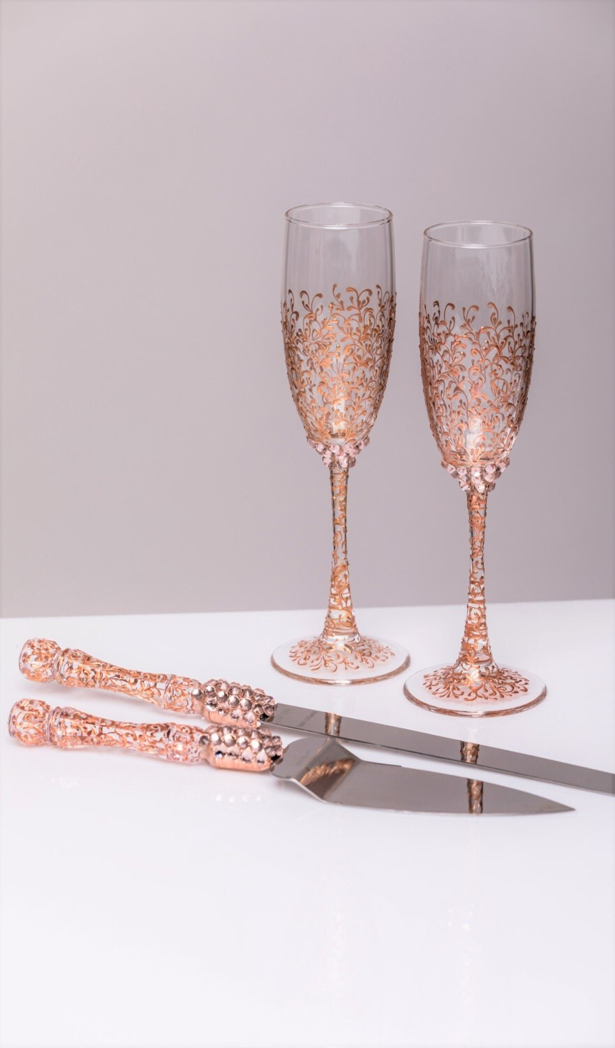 rose gold wedding cake knife and server gold wedding glasses and cake server set cake knife 19287