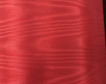 Beautiful Deep Red Paper Lined Vintage Moire Taffeta Fabric Black Backing 1/2 Yard or 1 Yard by 5 FT
