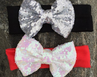 Sequin headband bow, birthday headband, sparkle headband, silver headband, black headband, first birthday headband, Valentines Day headband
