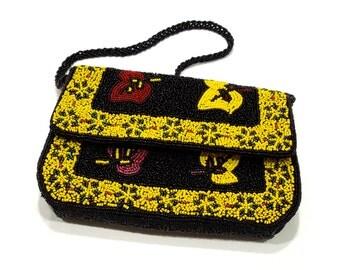 VINTAGE: Beaded Handbag Clutch - Colorful Bag - Evening Clutch - Purse - SKU 19-F2-00007376
