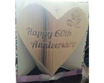 60th Anniversary Heart Book Folding Pattern