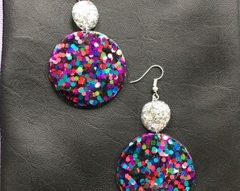Statement dangle resin earrings