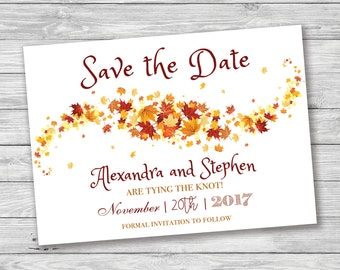Fall/Autumn Leaves Save the Date, Fall Save the Date, Falling Leaves, Enchanting, Autumn Save the Date, Printable Save the Date, Wind, Swirl