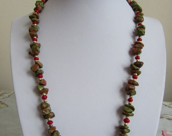 Unakite necklace crystal healing vintage necklace Third Eye spiritual magnetic clasp pagan new age wicca