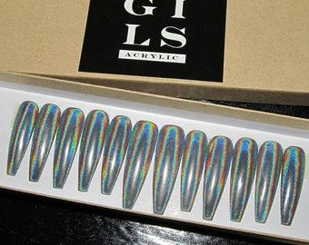 Rainbow Holographic Chrome Press On Nails