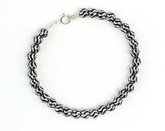 Laser beaded bracelet engraving oxide silver 925. for women HANDMADE jewelry. Long 18 cm 8.4 g