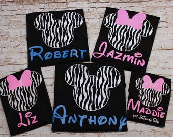 Disney Family Shirts - Animal Kingdom - Zebra Mickey or Minnie Head - Personalized