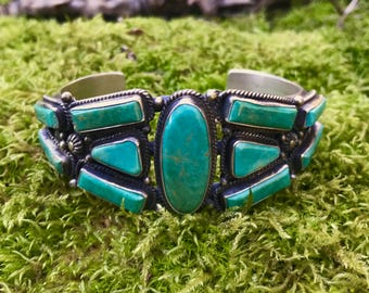 Geometric Navajo Turquoise and Sterling Cuff Bracelet