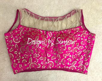 38 to 42 inch Pink Saree Blouse | Sequins Blouse