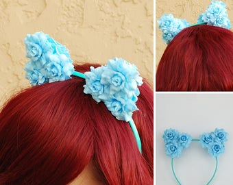 Floral Cat Ear Headband | Flower Kitty Ear Headband -- Sky Blue