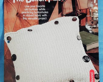 2001 House of White Birches Button Accent Pillow Knitting Pattern Leaflet