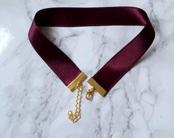 Burgundy bordeaux wine bordo satin choker gold