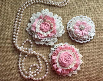 Shabby Chic Fabric Flower/Rustic Chic/girl room decor/ Pink and White Fabric Flowers/ Vintage Chic Doily Flowers/ Baby Girl Headband flower