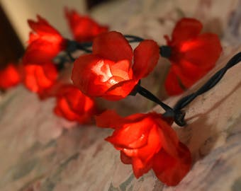 Red Rose Flower Fairy Light Garland