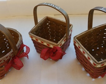 "Small Wooden Valentine Gift Baskets ""HEARTS"""