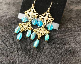 Gold & Blue Chandelier Earrings