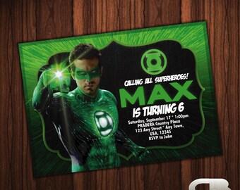 Green Lantern Invitation - Green Lantern Invite - Green Lantern Birthday Invitation - Green Lantern  Birthday Party - Digital File Download