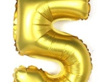 32 Inch Gold Number Balloon, 5 Balloon, Five Balloon, Large Balloon, Giant Balloon, Number Balloon, Party Balloon, Birthday Balloon