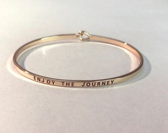ENJOY THE JOURNEY Silver Plated and Gold Plated Brass Bangle Bracelet