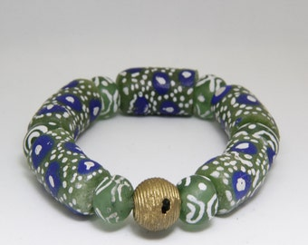 Large Sized Green JoyBell Ghana Beads with Rustic Embellishment